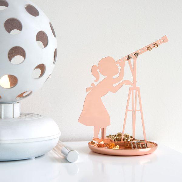 Kikkerland Meisje met telescoop sieradenhouder - Koper