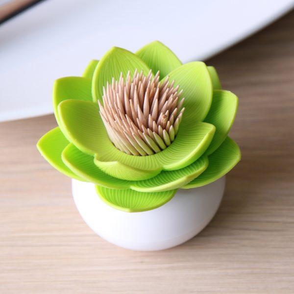 Qualy Lotus satéprikkerhouder - Wit/Groen