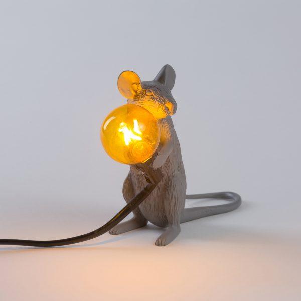 Seletti Mouse lamp - Grijs zittend