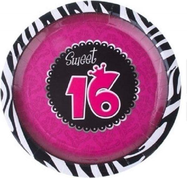 24x stuks Sweet 16 thema party bordjes 23 cm - Karton - verjaardag feestartikelen