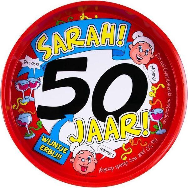 50 jaar Sarah feest/verjaardagsfeest metalen dienblad/dienbladen 30 cm