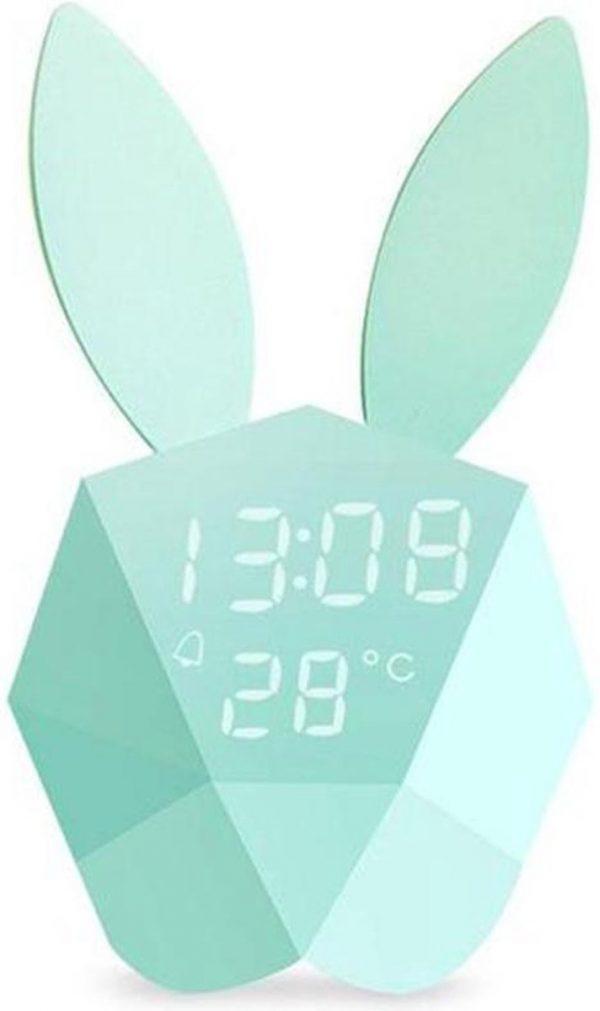 FettleLife Bunny Bella Wekker - Bluetooth APP Konijn Klok met Nachtlampje en Thermometer - Wekker voor Kinderen en Babykamer (Blauw)