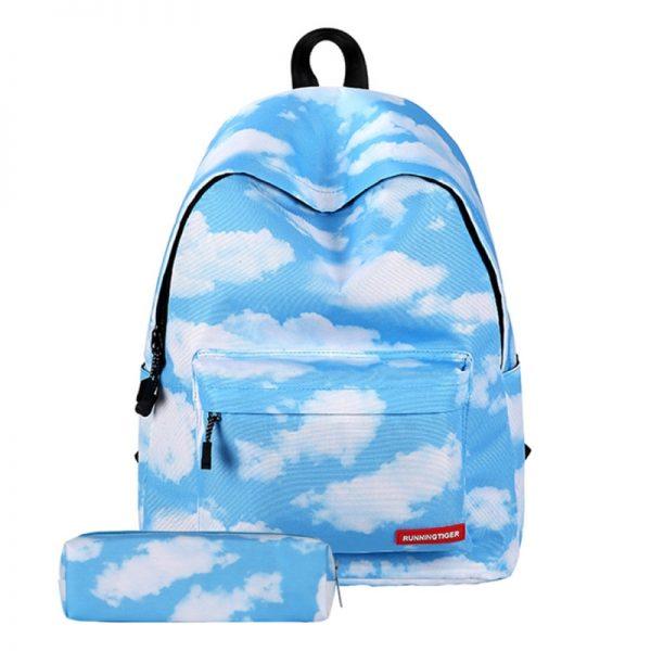 Cloud patroon Print reizen rugzak School schouders tas met Pen zak voor meisjes formaat: 40 x 30 cm x 17 cm