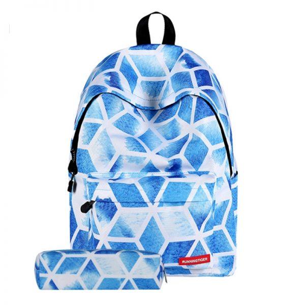 Diamond Lattice patroon Print reizen rugzak School schouders tas met Pen zak voor meisjes formaat: 40 x 30 cm x 17 cm