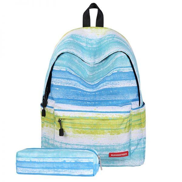 Groene streep patroon Print reizen rugzak School schouders tas met Pen zak voor meisjes formaat: 40 x 30 cm x 17 cm