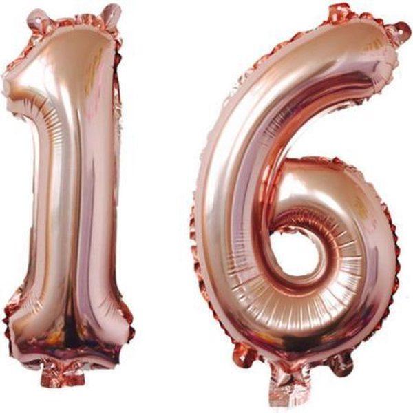 ProParty - Sweet 16 - Roze balonnen - 1 ballon en 6 ballon - Set van 2 ballonnen - 16 jaar verjaardag versiering - Sweet 16 versiering - Sweet Sixteen - 16 Jaar - Ballonnen - Sweet 16 Versieringen - 16 Jaar Verjaardag