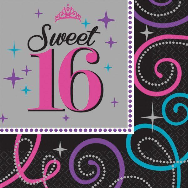 Sweet 16 Servetten 33x33cm 16 stuks