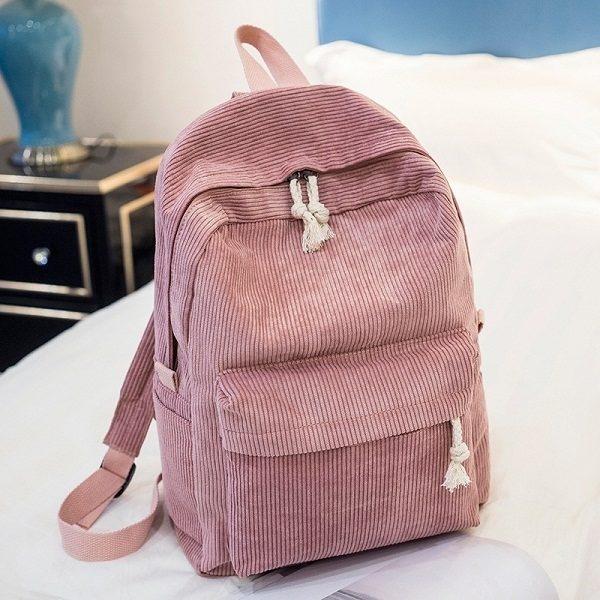 Zachte stof rugzak vrouwelijke corduroy design school rugzak voor tiener meisjes vrouwen (roze)
