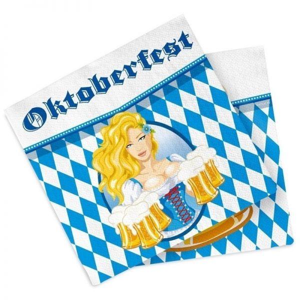 40x Oktoberfest/bierfeest feest servetten blauw 33 x 33 cm - Feestservetten