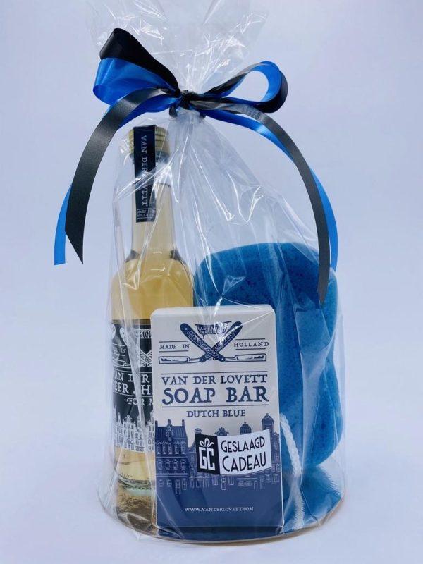 Cadeau voor man Van der Lovett Bier Shampoo Zeep en douche spons - gadgets mannen - geschenkset mannen - 3 producten