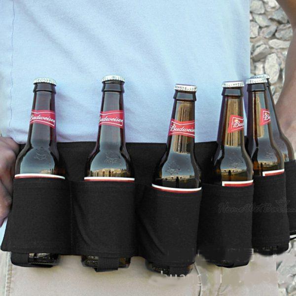 Draagbare buiten bier alpinisme riem 6 houdt minimalistische stijlvolle stijl multi-functioneel Outdoor sporten actief wandelen rijden reizen Belt(Black)