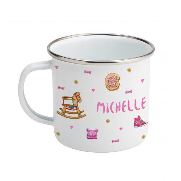 Emaille mok met naam - Giraf mama en baby - Meisje roze - Gepersonaliseerde drinkbeker - kraamcadeau - Dieren in aquarel - Geschilderd door Mies