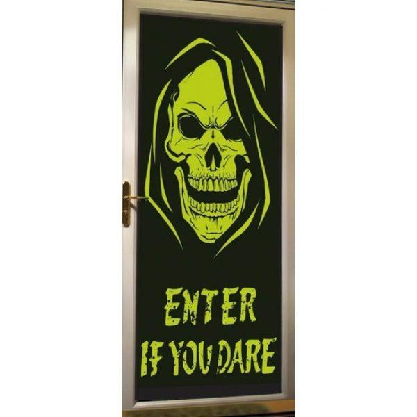 Glow in the dark halloween deurversiering poster met skelet - Feestposters