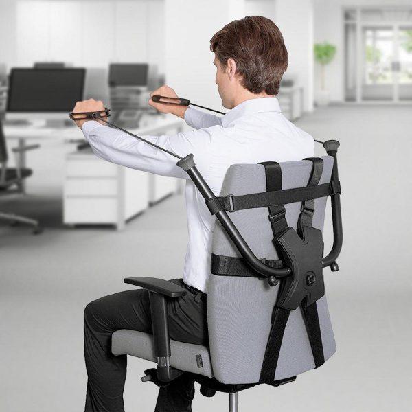 Stoel fitness apparaat - Office Chair Gym - weerstand 2-9kg - Op elke stoel te bevestigen - Verstelbaar - biceps, triceps, borstspieren en rugspieren. Incl. Workout Gids