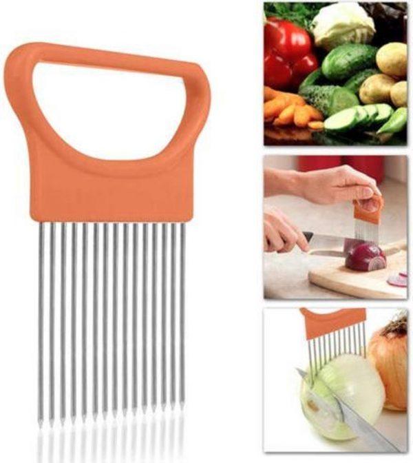 Uiensnijder/Groentesnijder | RVS Snijhulp voor in de keuken |Keuken gadget | Groenten - Aardappels - Uien - Tomaten | Oranje