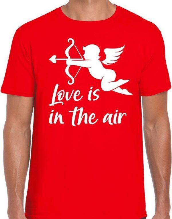 Valentijn/Cupido love is in the air t-shirt rood voor heren XL