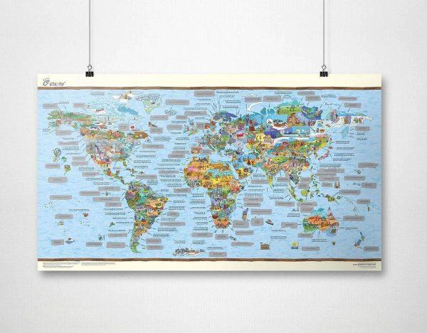 CabinMax Wereld Kraskaart - Scratch Map - Buitensporige Feiten Krasmap - Kras Je Reislanden