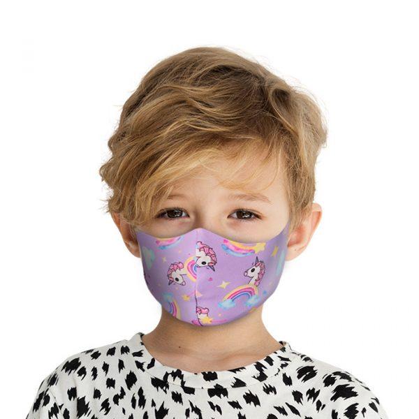 Mondkapje Kids met Zilverionen - Eenhoorn  Mond Neus Masker   Mondmasker
