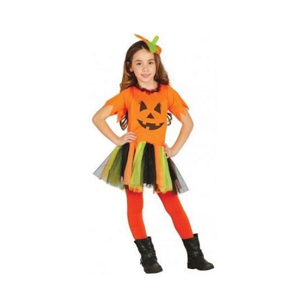 Oranje Halloween pompoen jurkje voor meisjes 128-134 (7-9 jaar) -