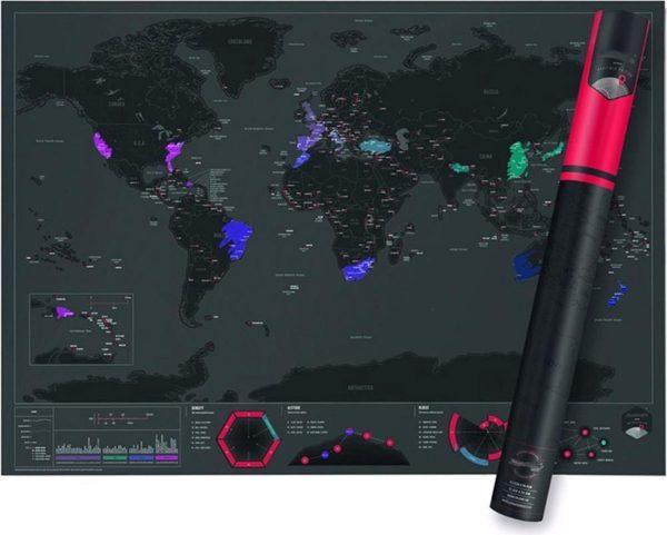 Wereldkaart - Black on Black Editie - Kras - World Scratch Map - Wereld kraskaart zwart