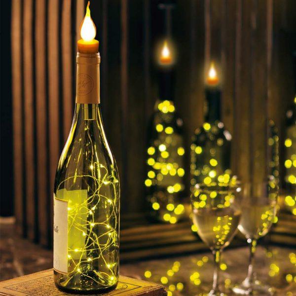 Wijnfles led verlichting - Bottle cap light Kaars