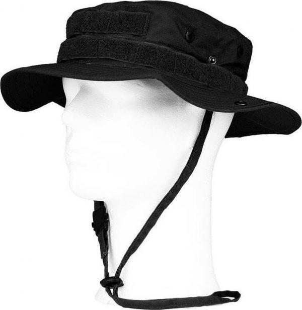 Bush/ranger hoed zwart met geheim vakje voor volwassenen - Bush hoeden MOLLE - Outdoor hoeden voor dames/heren 59 cm