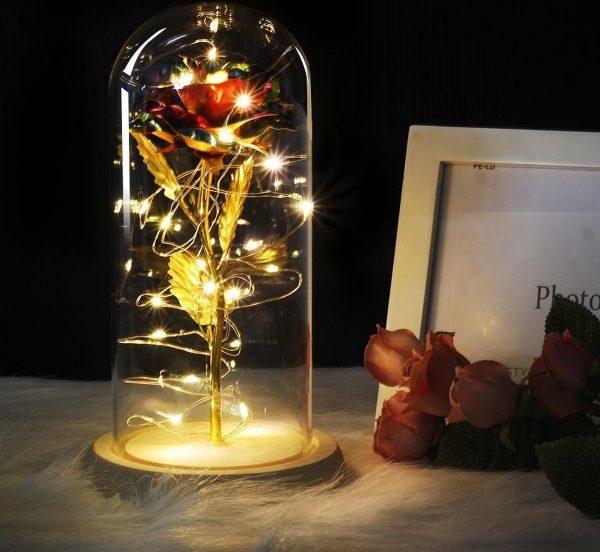 Gouden roos in glazen stolp met LED - Beauty and the Beast - Valentijn, Trouw & Liefde Cadeau