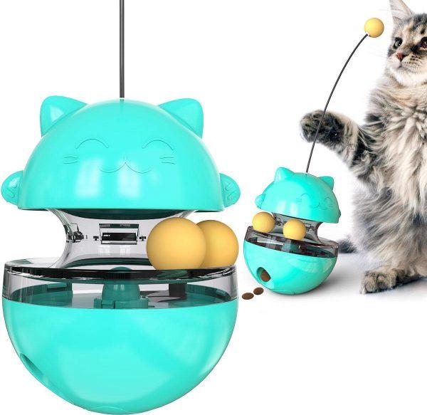Katten snack bal - Voerbal - Snack - Speelgoed Katten - Kattenspeeltje - Kattenspeelgoed - Interactief speelgoed kat - Katten Speeltjes - Speeltje Kitten - turquoise
