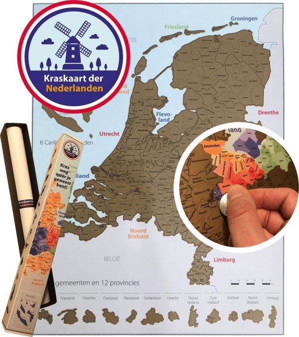 Kraskaart der Nederlanden - 56x44 cm - Kras weg waar in Nederland jij bent geweest - Scratchmap Nederland Poster