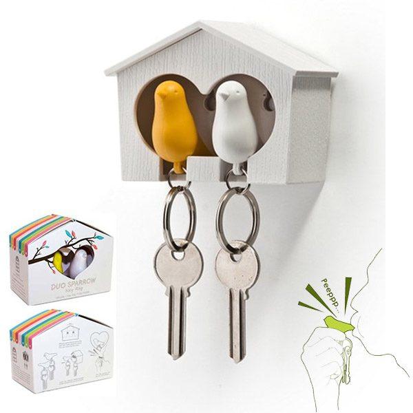 Sparrow sleutelhouder Duo (wit-geel)