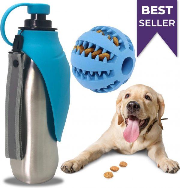 Stashle® RVS Honden waterfles Draagbaar Drinkfles voor onderweg - Drinkbak - 600ml