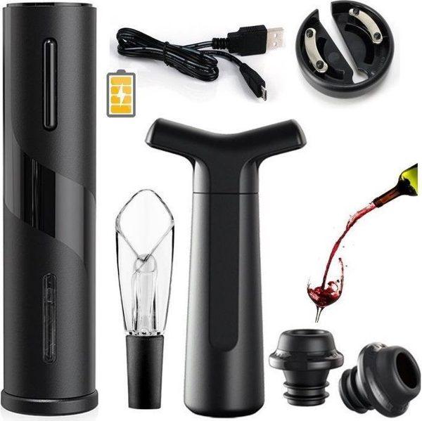 Elektrische Kurkentrekker - USB Oplaadbare Flessenopener - Wijnopener - Wijntopper - Wijnpomp - Luxe Wijn Accessoires Set 7 In 1