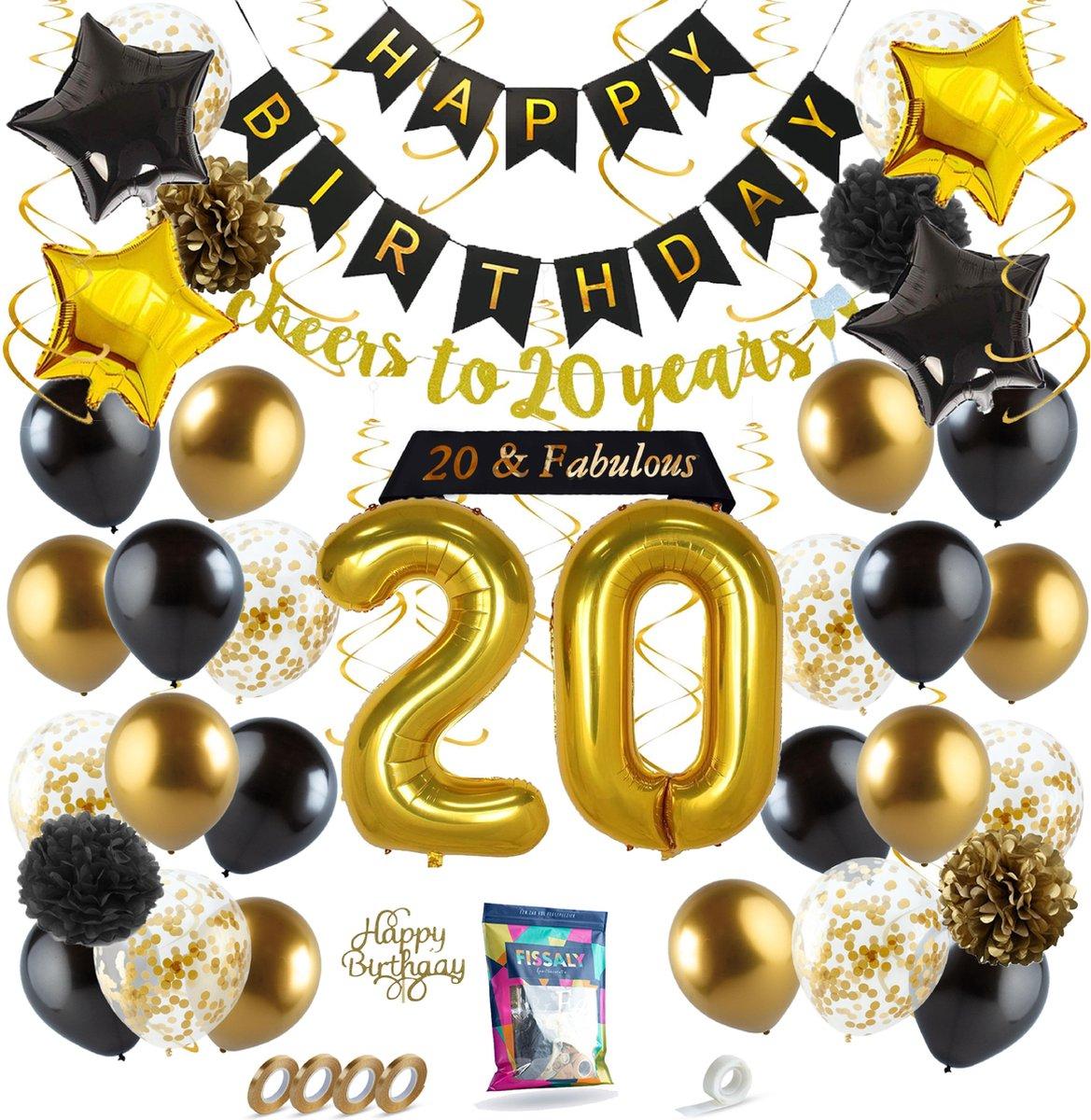 Fissaly 20 Jaar Verjaardag Decoratie Versiering Ballonnen Jubileum Man Vrouw Zwart En Goud Kopen Gadgethouse