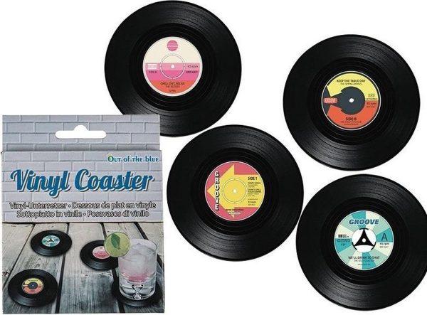 4x LP vinyl onderzetters 11 cm - Onderzetters voor glazen en bekers - Muziekfan thema cadeau/gadget